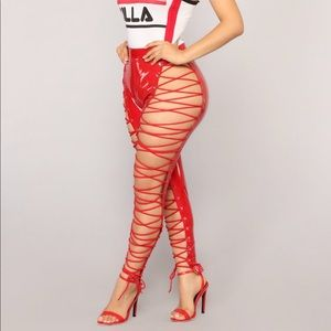 Red Lace Up Pants